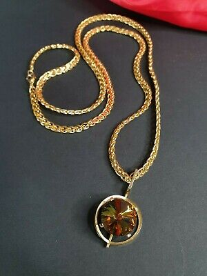Old Jewel Pendant on Gold Tone Chain …beautiful accent piece