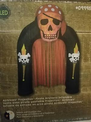 9 ft Lighted  Pirate Skull Archway Halloween Inflatable Yard - Pirate Lights
