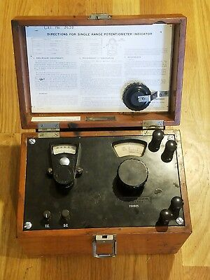 Leeds Northrup Single Range Potentiometer Indicator In Wooden Case