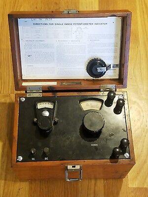 Leeds Northrup Single Range Potentiometer Indicator In Wooden Case