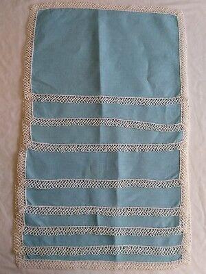 Vintage Robins Egg Blue Linen Tatted Cloth Placemats Set Lot