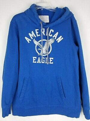 American Eagle Large Tall Blue Logo Hoodie Sweatshirt