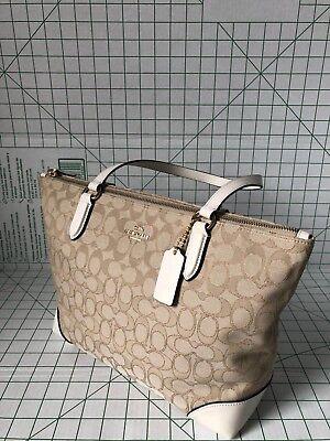 Coach F29958  Outline Signature Zip Tote Jacquard handbag Light Khaki /Chalk