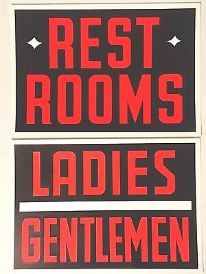 Vintage Plastic Restroom Signs Hardware Store Business Sign 7x10 New Old Stock