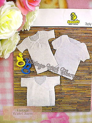 Free Knitting Pattern Stitches (Vintage Knitting Pattern Baby's Vests In 3 Different Stitches & Styles  FREE P&P )