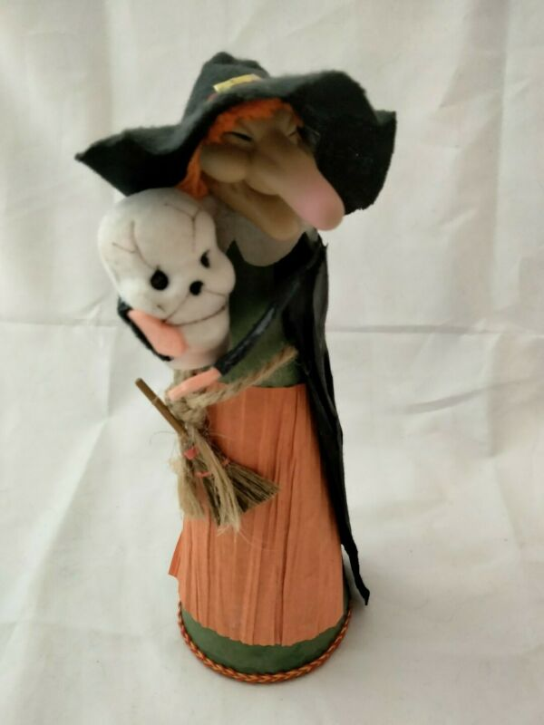 "Vntg Halloween 8"" WITCH Broom Skull Standing Figurine Paper Felt Craft Taiwan"