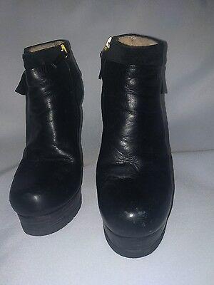 Fendi Black Leather Platform heels Round Toe Ankle Booties Size 37.5 /7.5