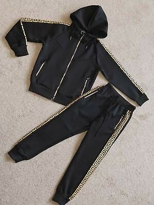 Kids Black/Gold Tracksuits Versace Inspired toddler teenager 3-16 years NEW