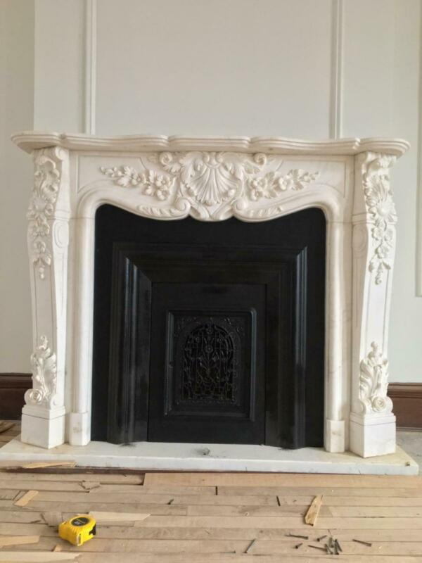 BEAUTIFUL HAND CARVED MARBLE FRENCH STYLE  ESTATE FIREPLACE MANTEL - TTM5