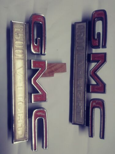 A pair1967-1972-GMC-1500-V-Eight-V8-Fender-emblem-Truck-1968-1969-1970-1971