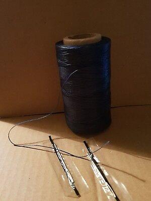Dark coffee Heavy Duty20 metres  1mm.Thick  Sewing Waxed Flat Thread free needle