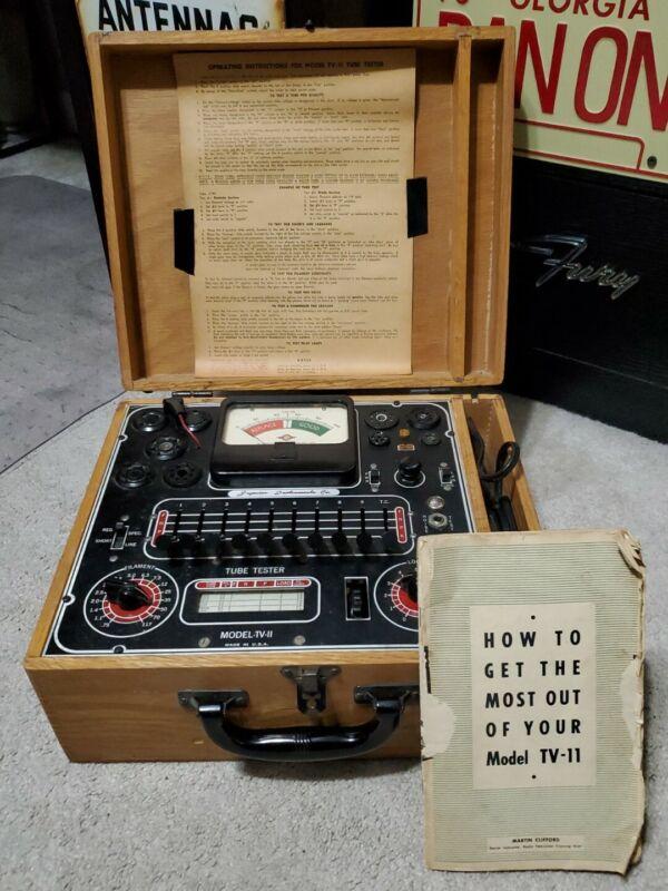 Vintage Superior Instruments Model TV-11 Tube Tester, Wooden Case & Manual