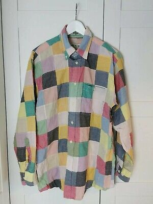 Orvis M Patchwork Summer Shirt 100% Cotton - Ugly Quirky Multicoloured 90s  for sale  Shipping to Ireland