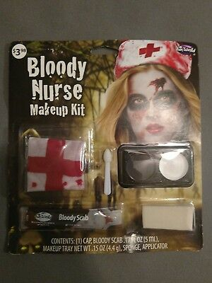 NIP Fun World Bloody Nurse Makeup Kit Bloody Scab, Cap, etc, Halloween #200 - Nurse Halloween Makeup