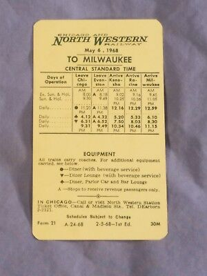Chicago & North Western Railway 1960 Timetable Card To Chicago & To Milwaukee