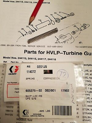 Graco Hvlp Compression Spring For 1 Quart Cup  114072 For Turbine Gun