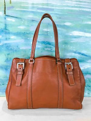 - $1295 PRADA Brown Pebbled Leather Double Buckle Side Snap Shopping Tote Bag SALE