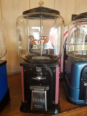 Vintage Victor Topper glass gumball machine pink restored -