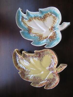 Blue and Orange Leaf serving PLATTER 6 Ceramic leaf shape serving plates Cisse ()