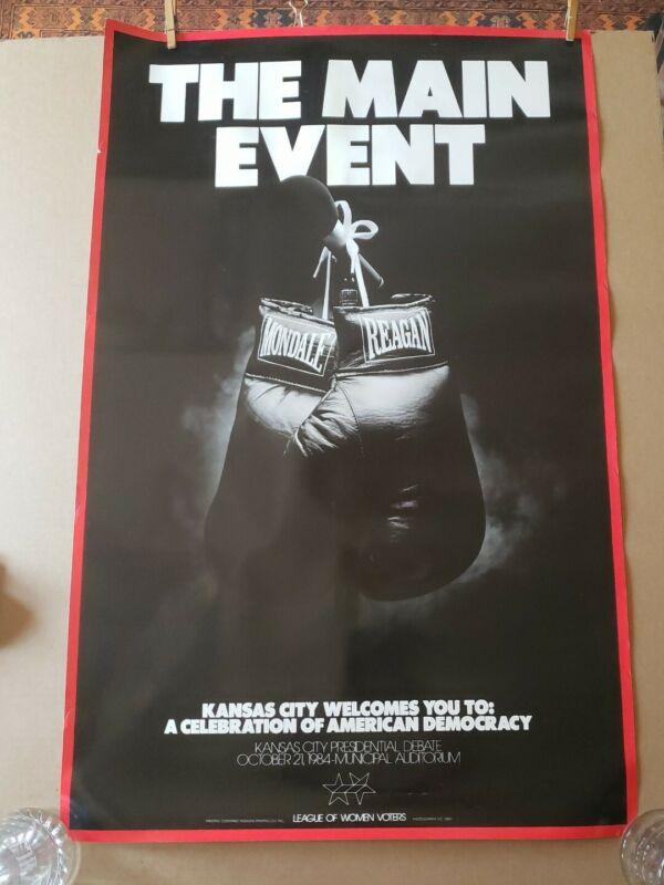 1984 Vintage THE MAIN EVENT Ronald Reagan vs Walter Mondale Debate Poster KC, MO