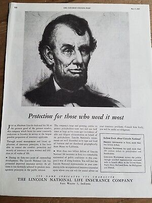 1947 Abraham Lincoln National Life Co Protection Who Need It Most Ad