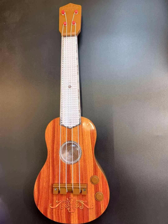 Kindergitarre Spielzeug Musik Gitarre 4 Saiten Instrument LED Licht Sound Braun
