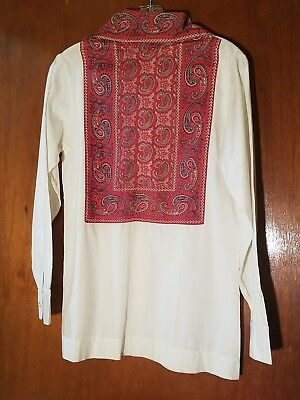 Vtg 50s Royer Acapulco White Cotton/Red Paisley/ Front Zip Tunic/Shirt S Mexico