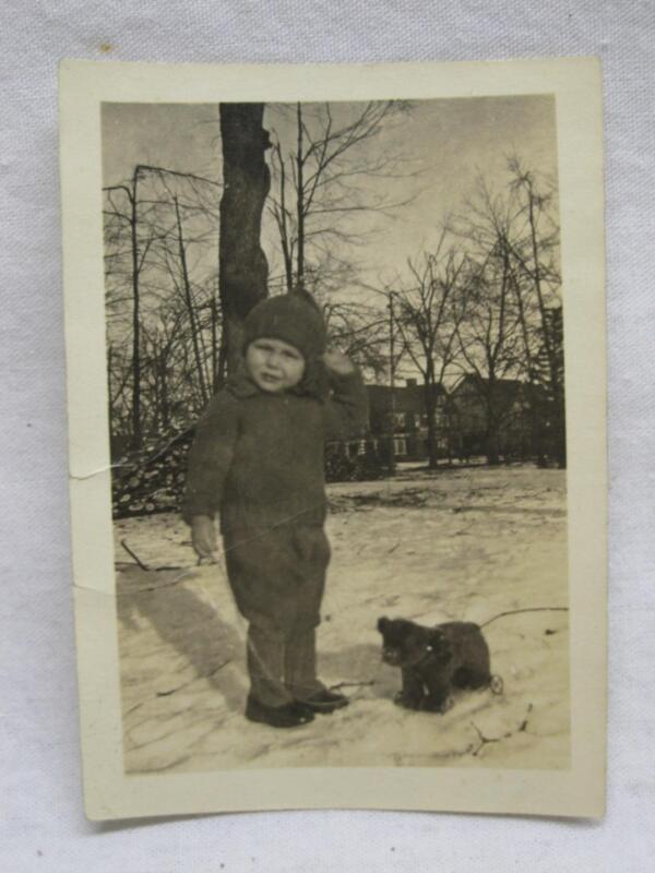 Child & Steiff? Bear Pull Toy Original Snapshot Photograph Vtg Old Antique Photo