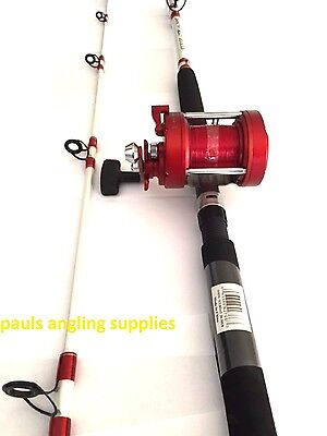 Shakespeare Omni Sea Fishing 7 ft Boat Rod + Multiplier Reel 20/30 lb LEFT HAND