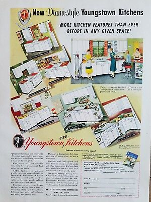 1954 retro Youngstown Steel kitchens Diana style cabinets vintage design ad