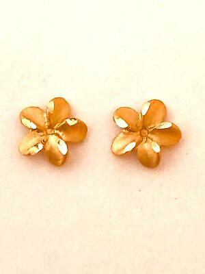 14K Solid Rose Gold Hawaiian Plumeria Flower Earring 1/4 inches (6 mm)  E2528-70