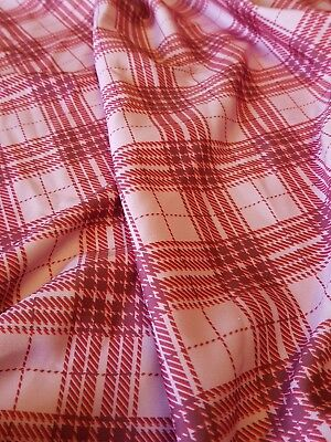 4 meters pink check stripe scuba printed fabric stretch crafts