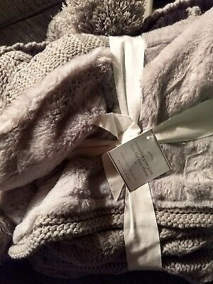 Pottery Barn Cozy Knit Fur Reversible Pom Pom Throw Blanket Gray Grey Soft New