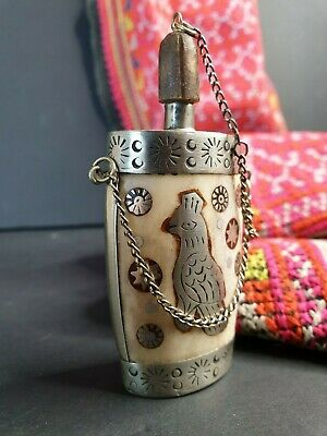 Old Middle Eastern Inlaid Silver Snuff Bottle …beautiful collection and display