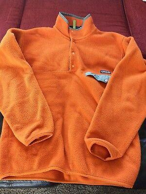 Mens Patagonia Synchilla Snap-T Fleece Pullover Sweater Jacket Medium Orange