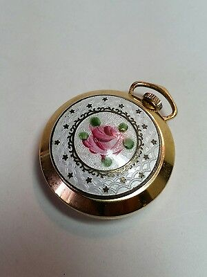 Vintage Coro Enamel Hand Painted Rose Watch Pendant for Necklace Works