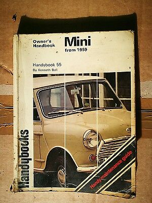 Austin Mini owners Handybook 55, from 1959, fair condition, Kenneth Ball