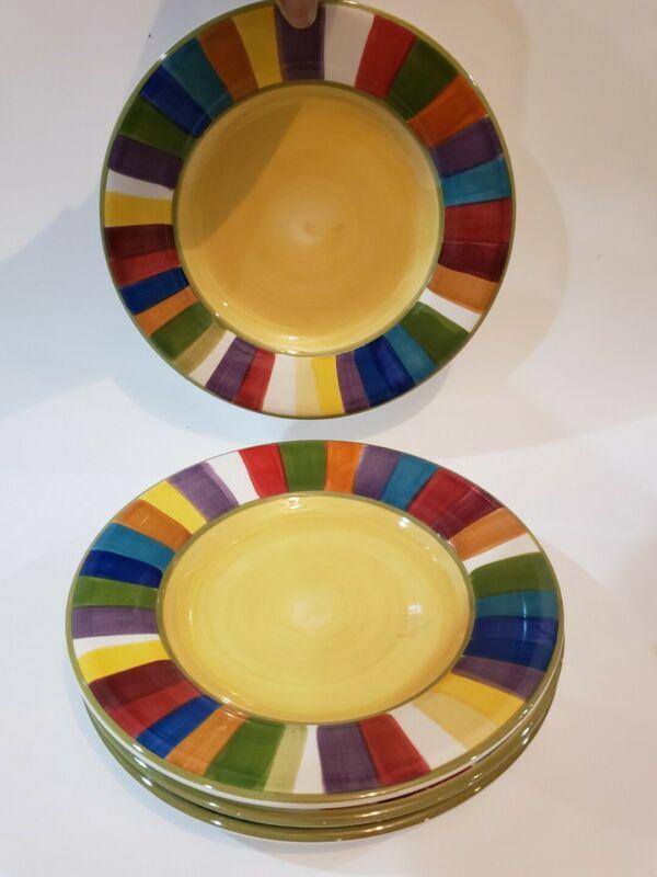 """Set Of 4 Philippe Richard Rainbow Stripes Salad Plates 8"""""""