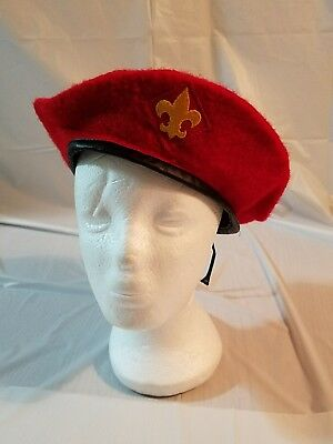 Vintage Boy Scouts RED BERET Cap BSA  Hat Official Jamboree Pure Wool X-LARGE #1