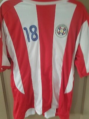 Paraguay 2014 World Cup  Soccer Team #18 Shirt  Jersey Men Large Red White  image