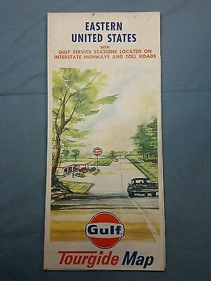 Vintage Gulf Oil Gas 1968 Eastern U.S. Highway Road Tourguide Map
