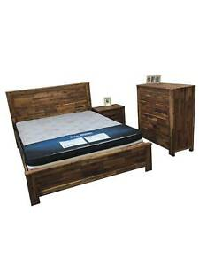 Solid Acacia Bed Frame, Drawers Chest, Bedside Arron