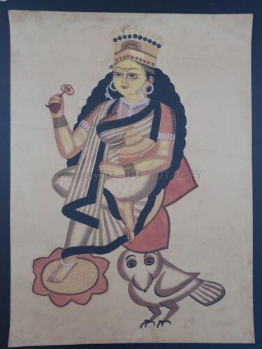 Bengal Kalighat Painting GODDESS LAXMI & OWL 22in x 30in