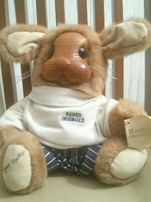 1990 Robert Raikes Original Wooden Bears, Signed Collector Bunny Vincent Jr