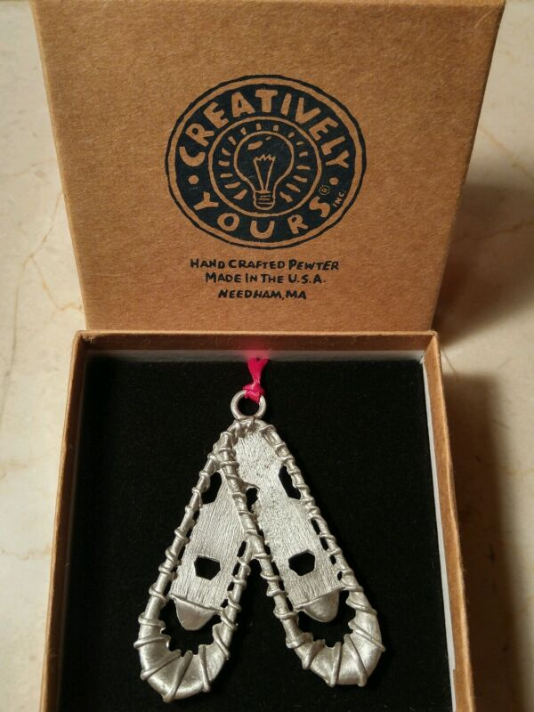 Hand Crafted Pewter Snow Shoes Christmas Ornament By Creatively Yours NIB
