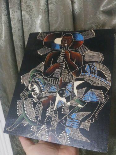 Folk Art Primitive Painting Wood Engraved Surreal Native Shaman Art Surrealist - $89.00