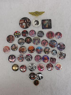 Lot of 39 Various 1980s ROCK METAL BUTTONS OZZY DEF LEPPARD RATT & More! m/
