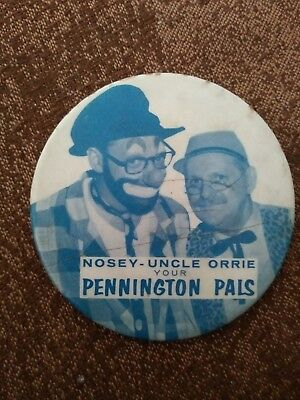 Rare Whio Dayton Oh Nosey And Uncle Orrie Pennington Pals Pinback
