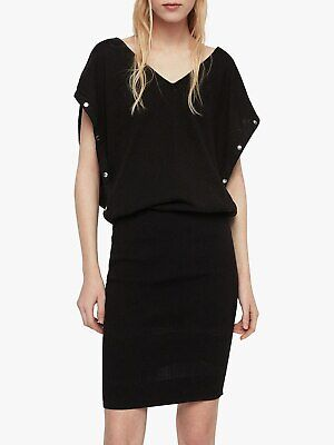 All Saints Dress Large 12 14 16 Jumper Tunic Black Relaxed Poppers...