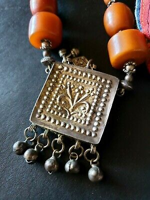 Old Tibetan Bakelite & Silver Necklace …beautiful accent & collection piece